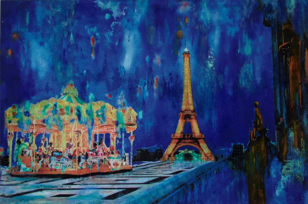 Eiffel Tower, By Night by annie blanchet rouze -  sized 36x24 inches. Available from Whitewall Galleries